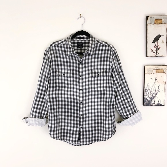Lucky Brand Other - LUCKY BRAND Gray White Check Long Sleeve Button up